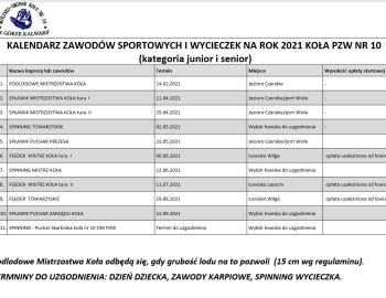 KALENDARZ ZAWODÓW SPORTOWYCH I WYCIECZEK NA ROK 2021 KOŁA PZW NR 10  (kategoria junior i senior)